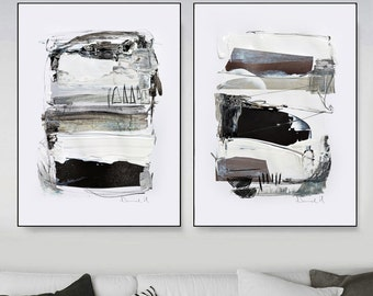 Abstract Print Set, Set of 2 Prints, Abstract Art Print Black and White Art, Modern Art, Printable art Contemporary Wall Art, Large wall art