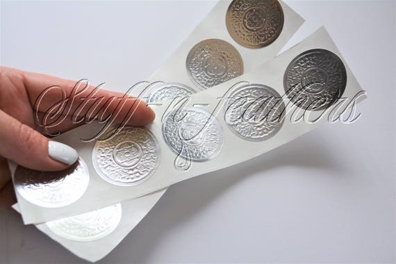 Silver foil sticker seals small round embossed stickers 1 5 in