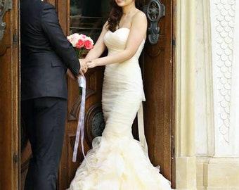 LS17/Rosie/Mermaid weddingdress with rose ruffle skirt /3D weddingdress