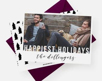 Happiest Holidays Card   Modern Photo Card, Printable Christmas Card, Modern Holiday Card, Custom Photo Card, Photo Holiday Card