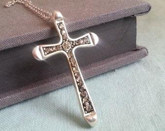 Large silver cross etsy silver cross necklace large cross charm rhinestone cross pendant cross jewelry long aloadofball Images