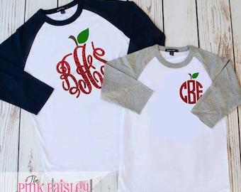 Monogrammed Teacher Shirt | School Raglan | Teacher Appreciation Gift | Teacher Apple Tee | School Teacher Shirt