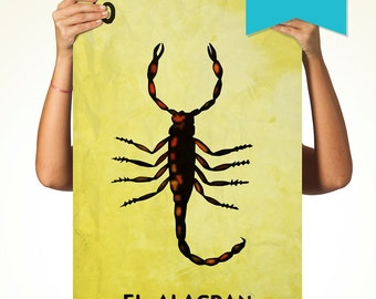 Loteria El Alacran Mexican Retro Illustration Art Print Vintage Giclee Large Poster on Satin or Cotton Canvas Wall Decor