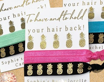Custom Bachelorette Hair Ties, Destination Wedding Party Favors, Hawaii Elastic Hair Tie, To Have and To Hold Your Hair Back, Gold Pineapple