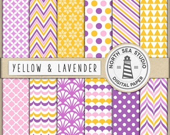 CANDY SHOP | Yellow Lavender Digital Paper Pack | Scrapbook Paper | Printable Backgrounds | 12 JPG, 300dpi Files | BUY5FOR8