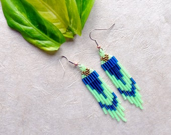 Lime Green, Blue and Gold // Native American Beaded Earrings // Shoulder Duster // Short Fringe // Boho // Glow