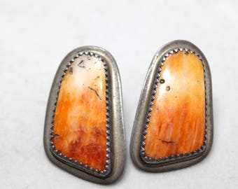 Vibrant Orange Spiny Oyster and Sterling Silver Stamped Post Back Earrings