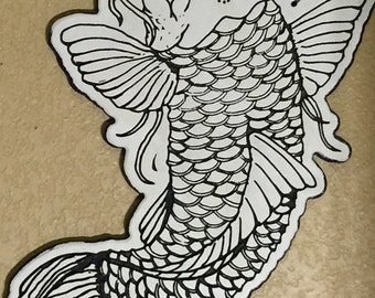 "Coy Fish traditional tatto design wooden wall art 22"" tall"