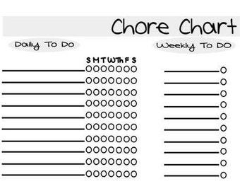 Chore Chart, Downloadable Chore Chart, Chore Chart, Digital Chore Chart, Weekly, PDF, Printable Chore Chart