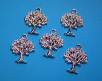 Set of 5, Rose Gold Trees, Tree Charms, Tree Pendant, Tree Jewelry, Nature, Tree of Life Pendant, Rose Gold Pendant, Jewelry Pendant #198B
