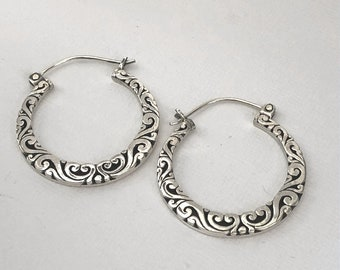 Balinese Hoop Ornate Earrings Sterling Silver Bali Jewelry