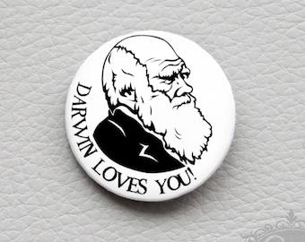 "cute as a button ""DARWIN LOVES YOU!"" button / badge"