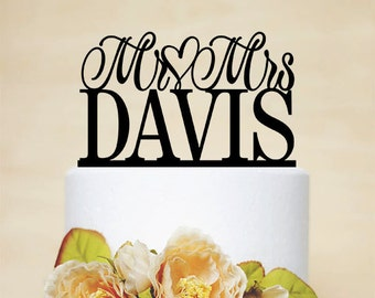 Mr And Mrs Wedding Cake Topper Personalized With Your Last Name,Custom Cake Topper,Romantic Cake Topper,Traditional Wedding Cake Topper-013
