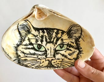 Tabby Cat Ring Dish, Cat Ring Holder, Cat Decor, Cat Art, Jewelry Dish, Valentines Day Gift for Her, Cat Lover Gift