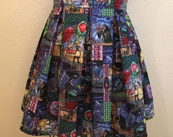 Disney Beauty and the Beast Stained Glass Window Printed Adult High Waisted Skirts