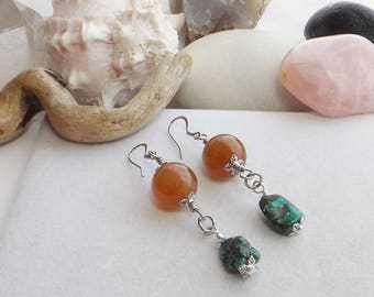 Orange Carnelian Beaded Earrings, Turquoise Nugget Earrings, Handmade Gemstone Dangle Earring, Southwest Jewelry, Boho Jewelry, Gift for Her