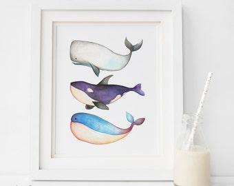 SALE Beach Decor, 3 whale Print, Watercolor Wall Art, Watercolor Print, whale Wall Art, Ocean Print, Nursery Printable, PDF  Wall Artwork