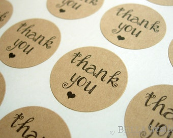 """Modern Girlie Thank You Stickers - 1"""" or 2"""" Kraft Stickers"""