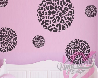 Leopard Print Wall Decal, Circle Leopard Print, Diamond Leopard Print, Heart Leopard Print, Teen Room Wall Decal, Teen Room Decor, Leopard