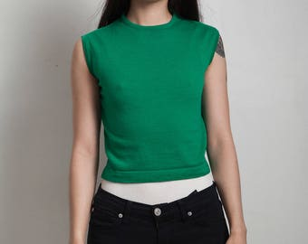 vintage 60s mod cropped crop top sleeveless knit green SMALL S