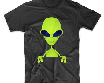 Space Alien Popping Out Funny Graphic T-Shirt by Really Awesome Shirts