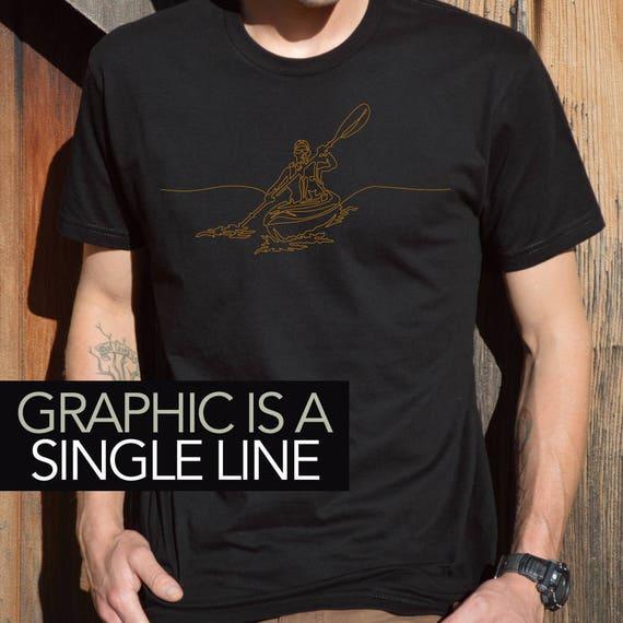 Men's Kayaking T-Shirt, Kayaking T-Shirt, Kayaker T-Shirt, Gift for Kayaker, Kayaker Shirt, Men's Kayaker Tee, Kayak Art, Cool Kayaker's Tee
