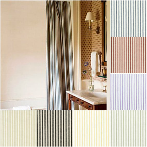 Custom Cotton Ticking Stripe Drapes Lined