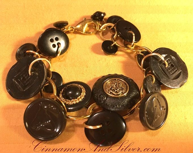 Upcycled Black and Gold Vintage Button Charm Bracelet, Black Retro Button Charm Bracelet, Chunky Black and Gold Button Charm Bracelet