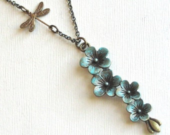 Patina Flower Necklace - Dragonfly Necklace, Flower Jewelry, Botanical Jewelry, Nature Jewelry