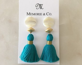 Turquoise Tassel Earring on Mother of Pearl Post