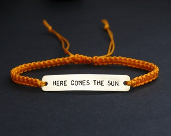 Here Comes The Sun Sterling Silver or Brass and Macramé Bracelet, Choice Of Colours Available