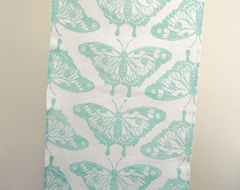 Butterfly hand printed in robins egg, celery green or sky blue on white linen tea towel hostess gift for her gift for gardener
