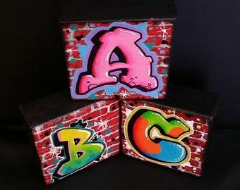 Custom Graffiti Letter Initial Brick Wall Canvas StreetArt Painting