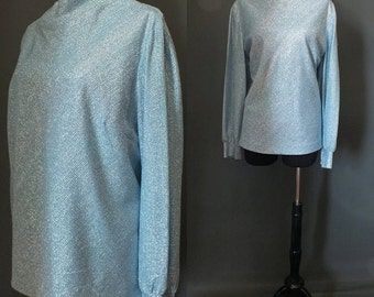 Vintage 1970's 70's Metallic Powder Blue Lurex Glitter Cowl Neck Top Party Top L
