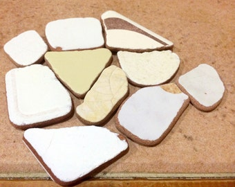 Genuine Sea Pottery, Sea Ceramic Shards, Beach Pottery, Tumbled Ceramic Tile, Pieces of Sea Pottery