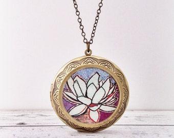 LOTUS LOCKET Large / Purple Lotus Flower / Wearable Art Necklace