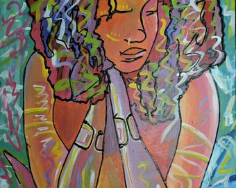 Afrofem,Oil on canvas painting,African painting,African art,Hand painting.