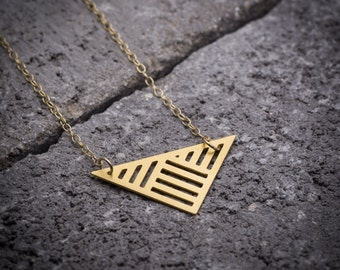Geometric necklace, triangle necklace, triangular pendant, everyday necklace, gift under 50, unique necklace, 14K gold, gift for her.