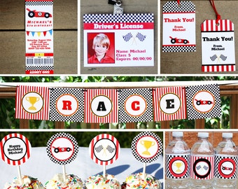 Race Car Party Decorations Package PRINTABLE Racecar Birthday Party Decor Kit INSTANT DOWNLOAD with Editable Text