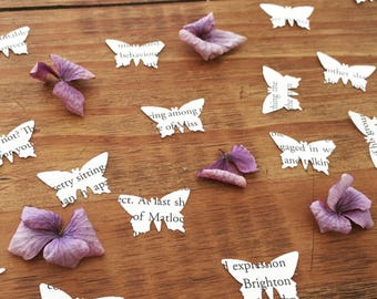 Book Page Confetti, Butterfly Confetti, Table Confetti, Wedding Confetti, Literacy Decor, Rustic Wedding, Scrapbooking, Cardmaking