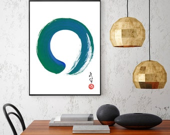 Enso Zen Art Japanese Art Zen Wall Art Print Blue Green Minimalist Abstract Painting Large Japanese Painting Japanese Calligraphy Zen Circle