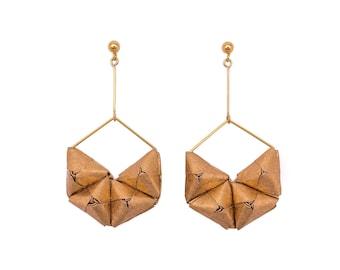 Gold, Silver, MetallicOrigami Earrings; Origami Jewelry, Origami Jewellery; Origami;Paper Jewelry; Japanese Paper; Japan; Statement Earrings