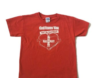 Vintage goodnews god lovez you Jesus T-shirt