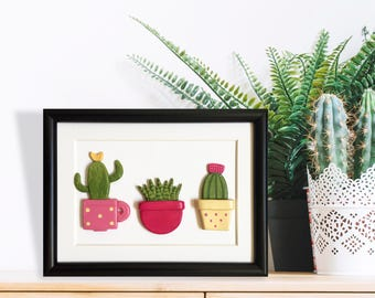 Cactus home decor, Clay cactus frame, Cacti wall hanging, Cactus lover gift, Succulent lover gift, Clay cactus, Mum gifts, Cactus wall art