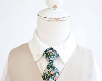 Necktie, Neckties, Boys Tie, Baby Tie, Baby Necktie, Wedding Ties, Ring Bearer, Boys Necktie, Floral Ties, Rifle Paper Co - Rosa In Forest