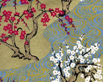 Chiyogami or yuzen paper - swirly, gold plum trees with white and magenta and slate blue waves, 9x12 inches