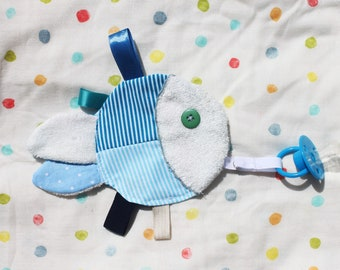 Multi-purpose Baby Toy, Baby Taggy Toy, Sensory Baby Soother, Baby Comforter with Soother Clip, Fish Baby Toy, Baby Shower Gifts