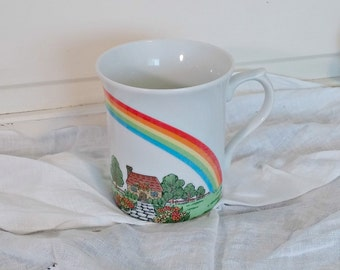 Retro Rainbow Coffee Mug | Cottage Coffee Cup