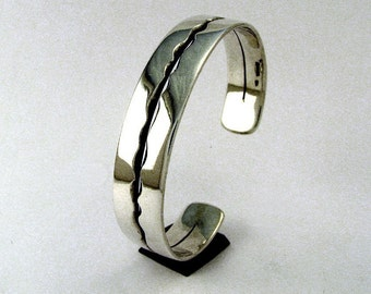 Sterling Silver Cuff Bracelet, Wide River