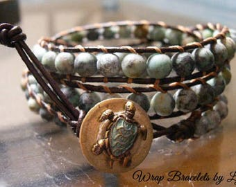 Leather Wrap Bracelet, Beaded Wrap Bracelet, Bohemian Wrap Bracelet - 1011